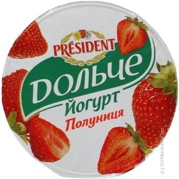 Йогурт 3,2% Дольче від President Полуниця стакан 400г