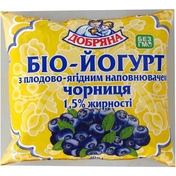 Био-йогурт Добряна с черникой 1.5% 400г Украина