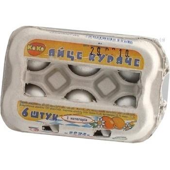 Egg Koko white packed c1 6pcs cardboard packaging