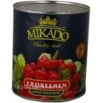 Fruit strawberry Mikado whole 820g can