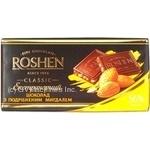 Шоколад екстра чорний з подрібненим мигдалем Roshen 100г