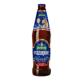 Пиво Львовское Різдвяне темное 4,4% 0,5л - купить, цены на Ашан - фото 1