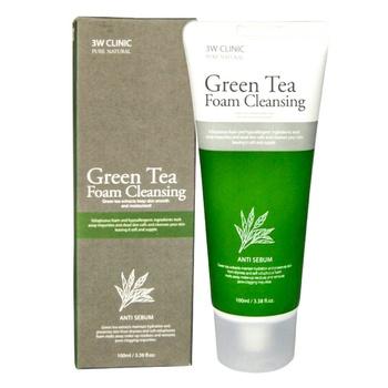 Пінка для вмивання 3W Clinic з екстрактом зеленого чая 100мл - купити, ціни на Ашан - фото 1