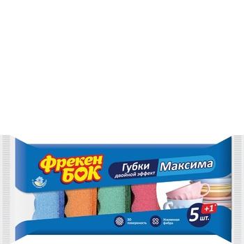 Набор губок Фрекен Бок Двойной эффект Максима 6шт - купить, цены на Ашан - фото 1