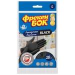 Freken Bok Latex gloves Black of 10 pieces L