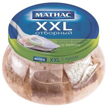 Сельдь Санта Бремор Матиас XXL отборная кусочки с луком 260г