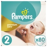 Подгузники Pampers Premium Carе New Born 2 3-6кг 80шт