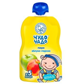 Пюре яблочно-персиковое Чудо-Чадо от 5-ти месяцев 90г - купить, цены на ЕКО Маркет - фото 1