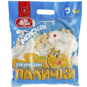 Палички кукурудзяні Мак-даК Молочні солодкі неглазуровані 175г - купити, ціни на CітіМаркет - фото 1