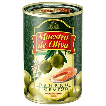 Оливки зеленые Maestro de Oliva с семгой 300г - купить, цены на Метро - фото 1