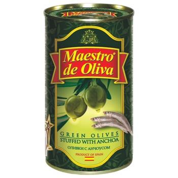 Оливки Maestro de Oliva зеленіе фаршированные анчоусами ж/б 350мл - купить, цены на МегаМаркет - фото 1