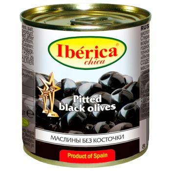 Маслины черные Iberica Chika без косточки 200мл - купить, цены на Ашан - фото 1