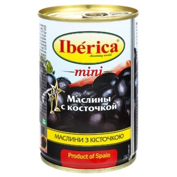 Маслины Иберика мини черные с косточкой 300г - купить, цены на Метро - фото 1