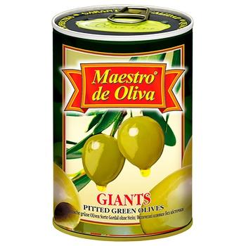 Оливки Maestro de Oliva Гигантские без косточки 432г - купить, цены на МегаМаркет - фото 1