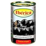 Маслины черные Iberica большие без косточки 360мл - купить, цены на Ашан - фото 1