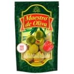 Оливки зеленые Maestro Dе Oliva с перцем 170мл - купить, цены на Ашан - фото 1