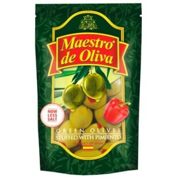 Оливки зеленые Maestro Dе Oliva с перцем 170мл - купить, цены на МегаМаркет - фото 1