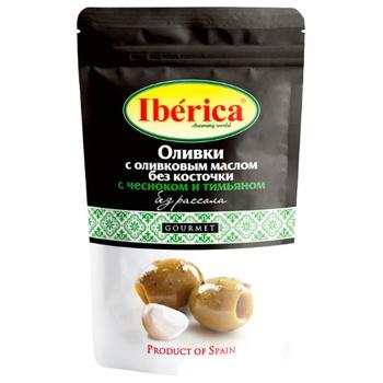 Маслины без косточки Iberica без рассола с чесноком и тимьяном 70г - купить, цены на СитиМаркет - фото 1