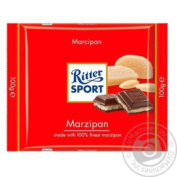 Шоколад черный Ritter Sport с начинкой марципан 100г - купить, цены на Novus - фото 1