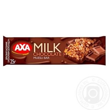 Батончик зерновой AXA с молочным шоколадом 25г - купить, цены на МегаМаркет - фото 1
