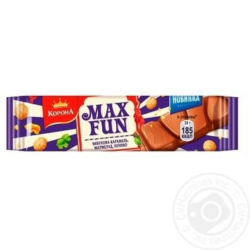 Korona Max Fun with marmalade, cookies and caramel milk chocolate 38g - buy, prices for Furshet - image 1