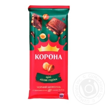 Шоколад черный Корона с цельными лесными орехами 57% 90г