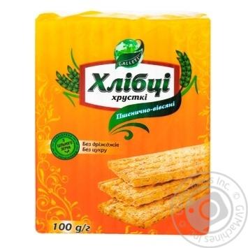 Хлебцы Галлети Хлебцы-Луганцы пшенично-овсяные без дрожжей и сахара 100г - купить, цены на Фуршет - фото 1