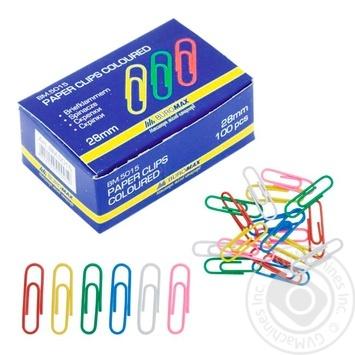 Скріпки Buromax кольорові круглі 100шт 28мм - купити, ціни на Метро - фото 1