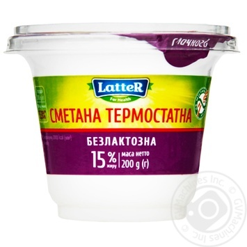 LatteR Lactose Free Sour Cream 15% 200g - buy, prices for MegaMarket - image 1