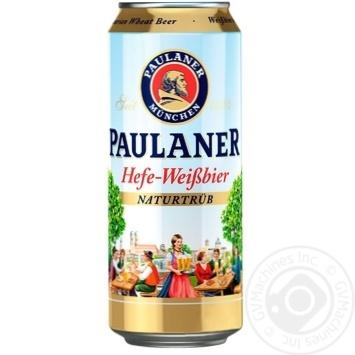 Пиво Paulaner пшеничне нефільтроване жерстяна банка 5,5% 0,5л