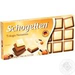 Шоколад белый Schogetten Trilogia с фундуком и молочном шоколадом 100г