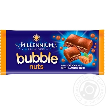 Millennium aerated with chopped almond milk chocolate 70g