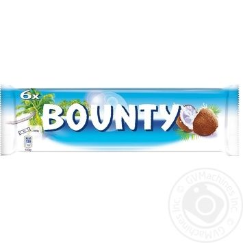Bounty Milk-Chocolate In Glaze With Coconut Feeling Bar 6pcs 171g - buy, prices for MegaMarket - image 1