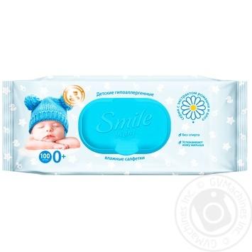 Салфетки влажные Smile Baby с клапаном 100шт - купить, цены на МегаМаркет - фото 1