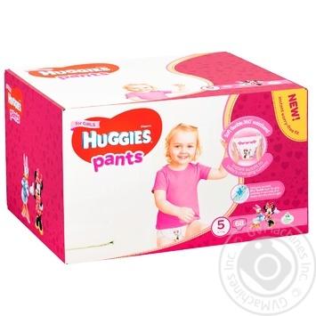 Подгузники-трусики Huggies для девочек 5 12-17кг 68шт/уп - купить, цены на Метро - фото 1