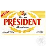 Масло President 82% сливочное несоленое 200г