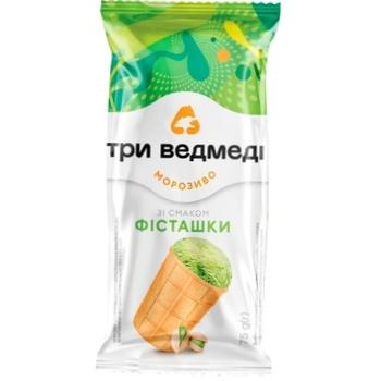 Морозиво Три Ведмеді Фісташка у вафельному стаканчику 65г - купити, ціни на Ашан - фото 1