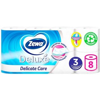 Папір туалетний Zewa Deluxe Delicate Care білий 3-х шаровий 8шт - купити, ціни на Novus - фото 1
