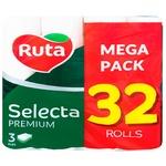 Туалетний папір Ruta Selecta тришаровий 32 рулони