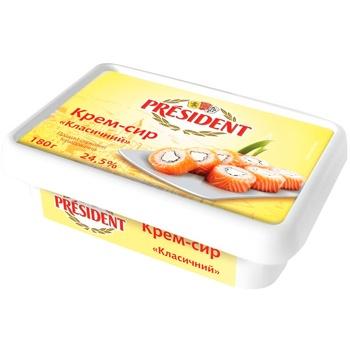 Крем-сыр President Классический продукт сырковый 24.5% 180г