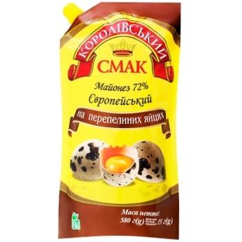 Майонез Королівський Смак Европейский на перепелиных яйцах 72% 580г