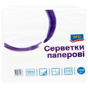 Салфетки бумажные Aro однослойные белые 24х24 1000шт