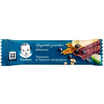 Батончик Gerber фруктово-злаковий з чорницею і чорною смородиною для дітей з 12 місяців 25г