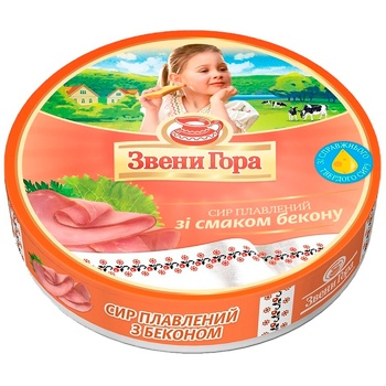 Сир Звени Гора плавлений зі смаком бекону порційний 50% 140г - купити, ціни на Ашан - фото 1