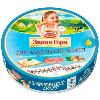 Сыр Звени Гора плавленый порционный ассорти 45% 8х17.5г - купить, цены на Ашан - фото 1