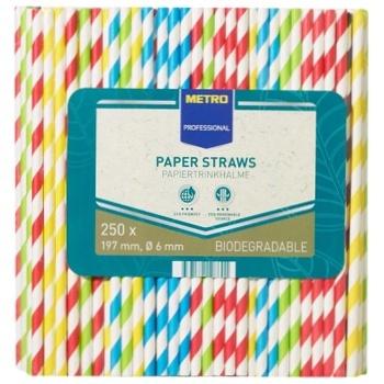 Трубочки Metro Professional бумажные 250шт 197Х6мм - купить, цены на Метро - фото 1