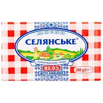 Масло Селянське солодковершкове екстра 82% 200г - купити, ціни на Метро - фото 1