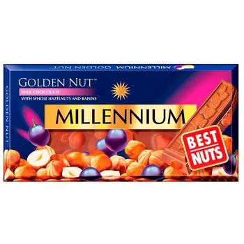 Шоколад молочний Millennium Golden Nut з цілими лісовими горіхами та родзинками 100г