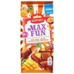Шоколад молочний Корона Max Fun манго ананас маракуйя вибухова карамель та шипучі кульки 160г