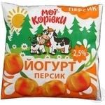 Йогурт Мои коровки персик 2.5% 400г Украина